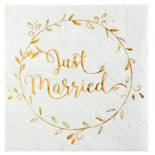 Cocktailservietten 'Just Married' (20 Stück) - weiß & gold