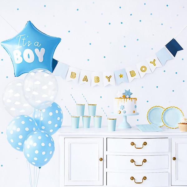 Babyparty Dekoset 'It's a boy' Junge 49 tlg. - hellblau & gold