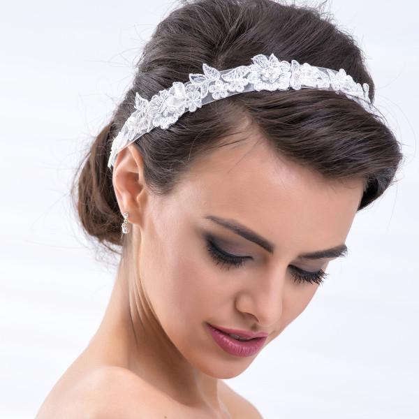 Haarband mit Spitze, Perlen & Strass - creme