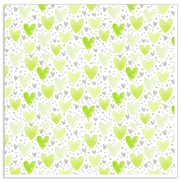 Servietten Herzen (20 Stück) - hellgrün