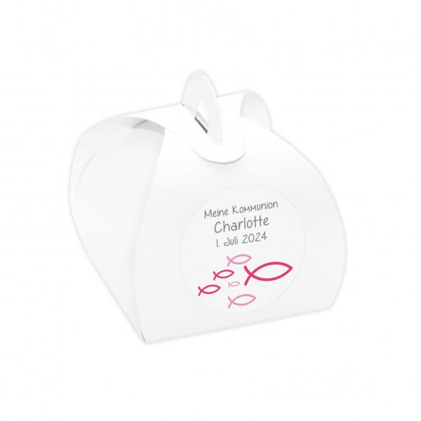 Gastgeschenke Set 'Fische' personalisiert 24 Stück - weiß & pink