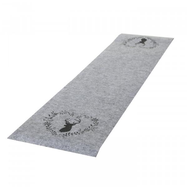 Tischläufer 'Hirsch mit Herzkranz', Filz 120 cm x 30 cm - grau