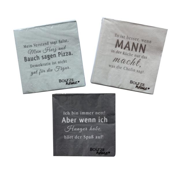 3 x 20 Servietten 'Hunger' - Grau Mix