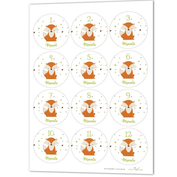 12 Aufkleber / Sticker Meilenstein 'Fuchs'