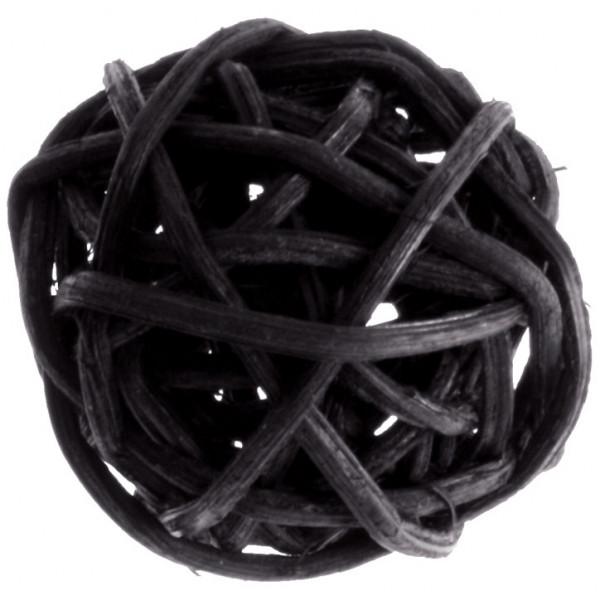 Rattankugeln (12 Stück) 3 cm - schwarz