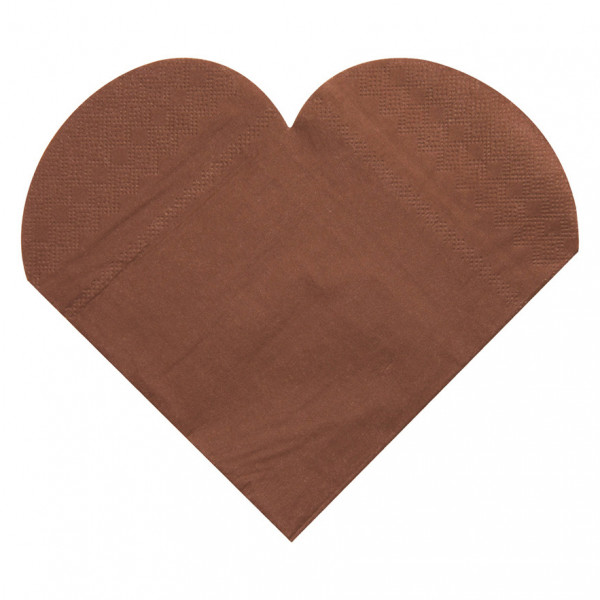 Servietten Herz (20 Stück) - braun