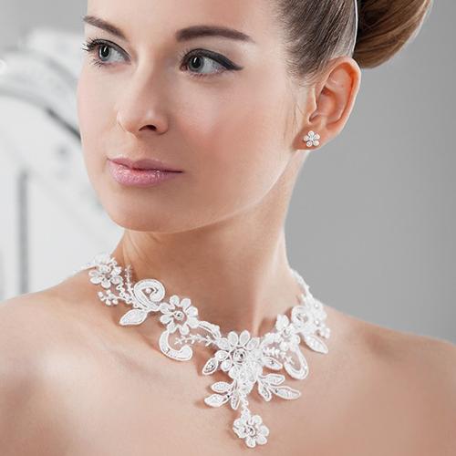Schmuckset 'Fria' aus Spitze mit Perlen & Strass