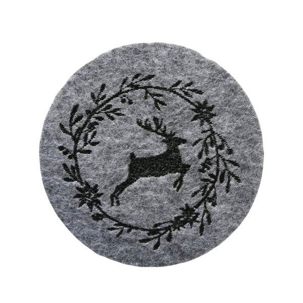 Untersetzer 'Leopold', Filz, Rund (6 Stück) 10 cm - grau