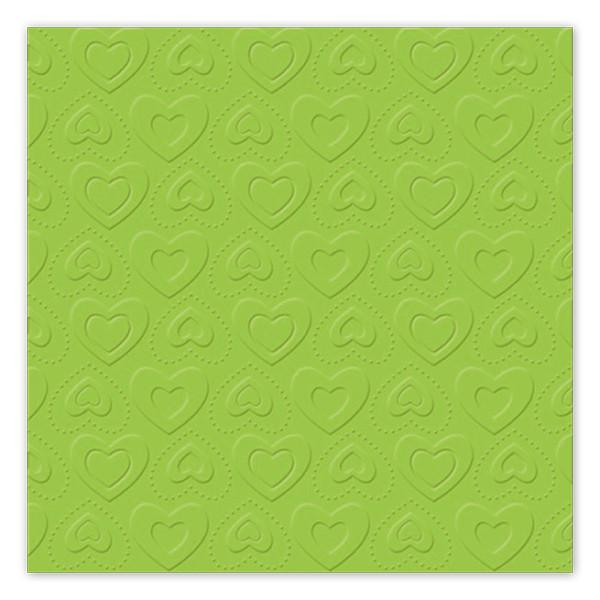 Servietten Herzen geprägt (16 Stück) - hellgrün
