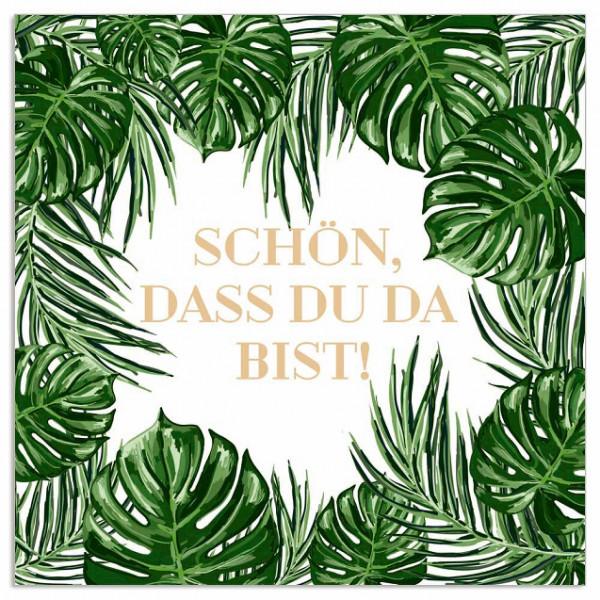 Servietten 'Schön, dass du da bist!' Blätter (20 Stück) - grün & gold