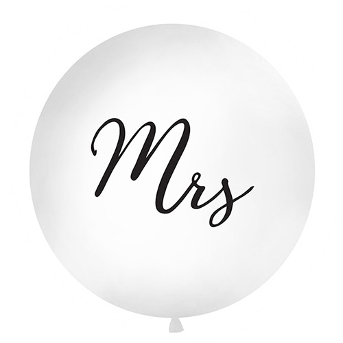 Jumbo Ballon 'Mrs' 100 cm - weiß & schwarz