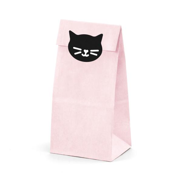 Katzen Party Papiertüten & Aufkleber 12 tlg. - rosa & schwarz