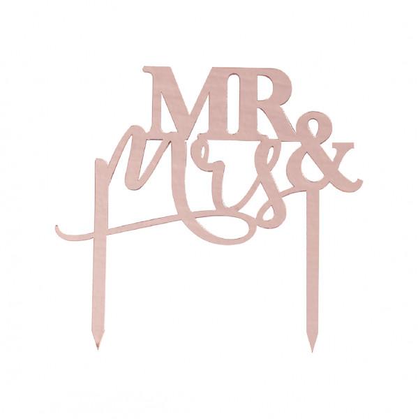 Pampas Wedding Tortenstecker Mr & Mrs - roségold