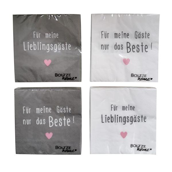 4 x 20 Servietten 'Lieblingsgäste' - grau, weiß & rosa