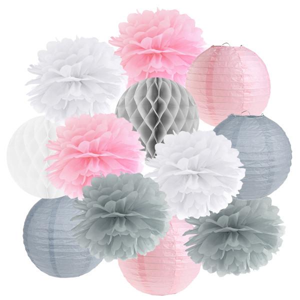 Hängedekoration 12 teilig Mix rosa, grau & weiß