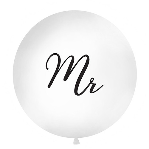 Jumbo Ballon 'Mr' 100 cm - weiß & schwarz