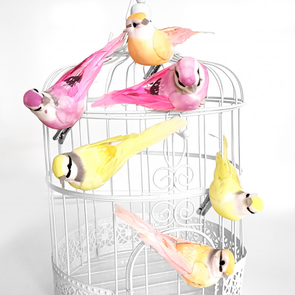 Dekovögel mit Federn & Clip (6 Stück) rosa, apricot & gelb