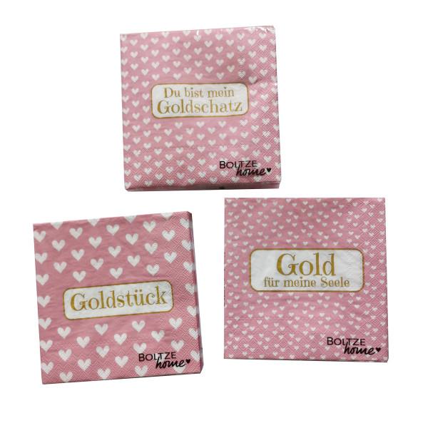 3 x 20 Servietten 'Goldy' - rosa & gold