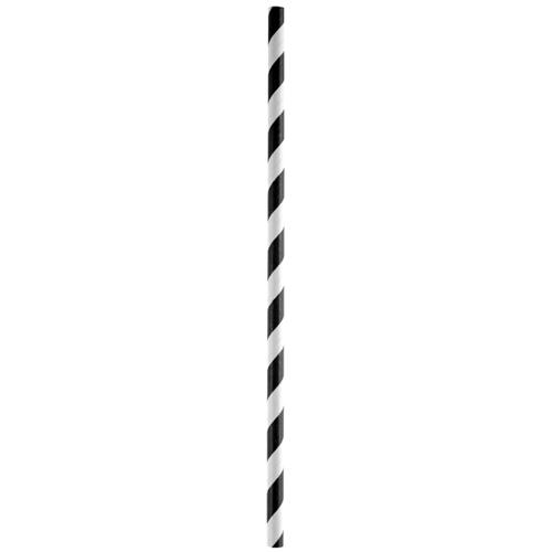 Strohhalme / Trinkhalme 'Streifen' (20 Stück) - schwarz