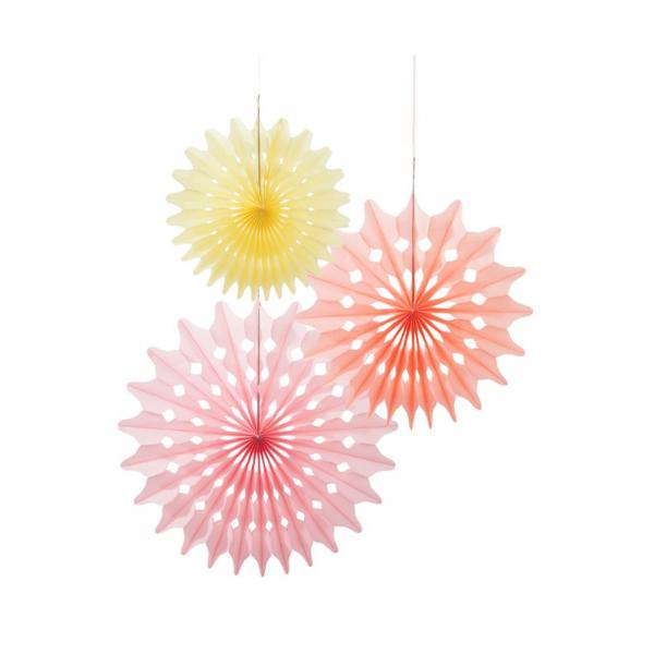Dekofächer / Dekorosetten 3-teilig - rosa, apricot & gelb