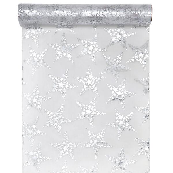 Tischläufer Sterne 28 cm x 3 m - silber