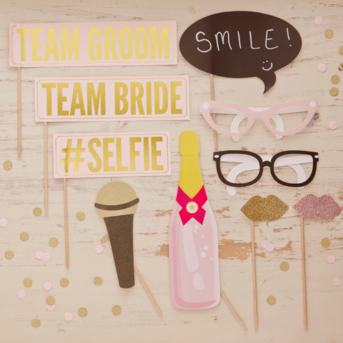 Photo Booth Set 10 tlg. 'Pastell Party' - rosa & gold