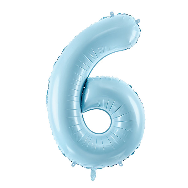 Folienballon '6' 86 cm - hellblau