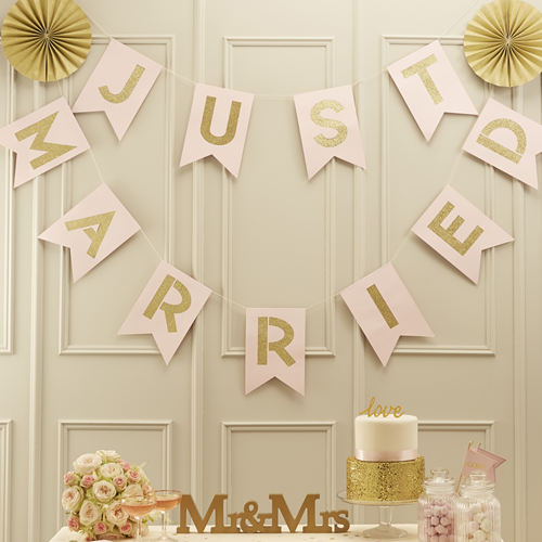 Girlande 'Just married' - rosa & gold