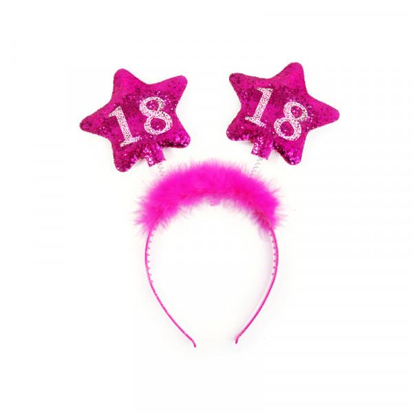 Haarreif mit Federn & Sternen '18' - pink