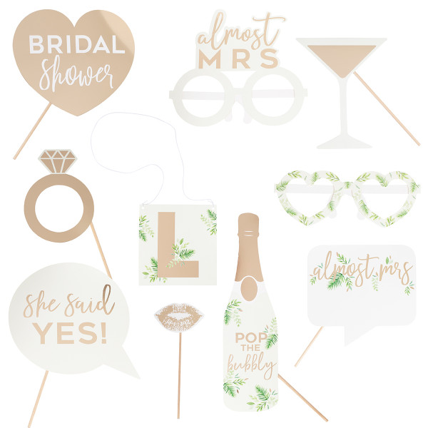 Botanical Party Almost Mrs Photo Booth Set 10 tlg. personalisierbar