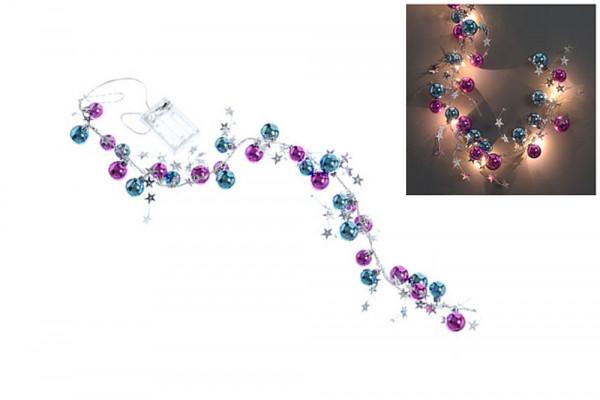 Lichterkette mit LED, Kugeln & Sterne - türkis & pink