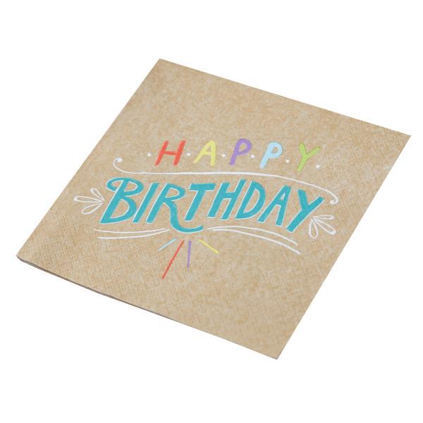 Servietten Happy Birthday (20 Stück) - Kraftpapier & Bunt