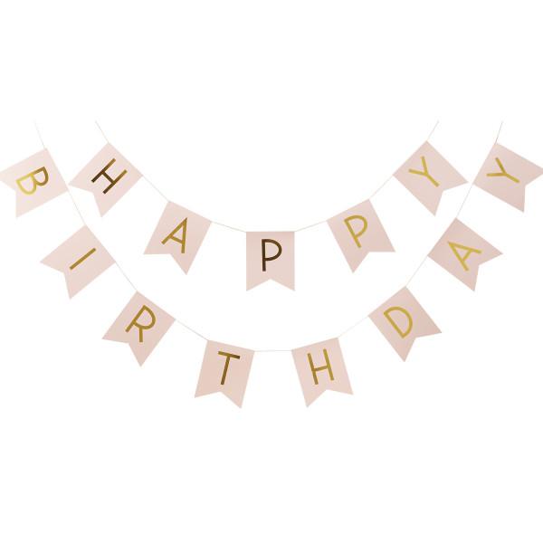 Girlande Happy Birthday 250 cm - rosa & gold
