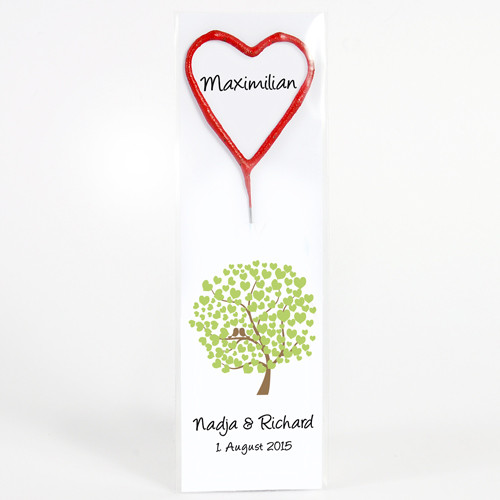 Gastgeschenk + Tischkarte Herz-Wunderkerze 'Bird Tree'
