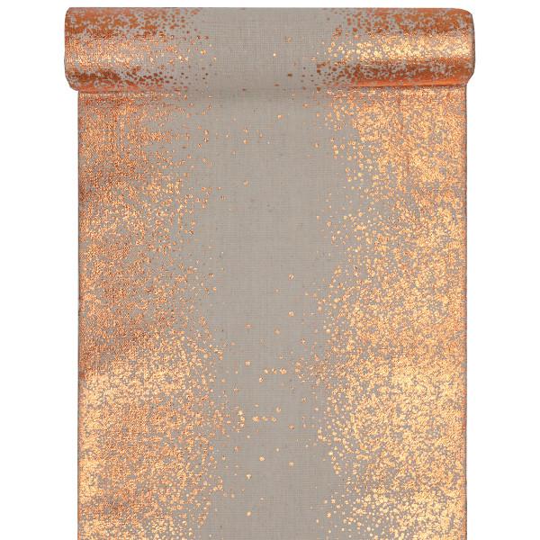 Tischläufer Sprinkles 28 cm x 3 m - natur & roségold