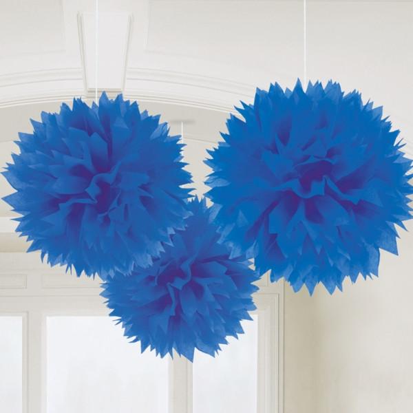 Pompoms 40 cm (3 Stück) - blau