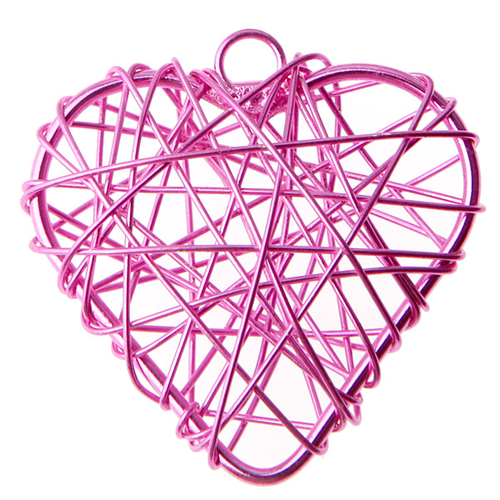 Anhänger 'Herzen' (6 Stück) - pink