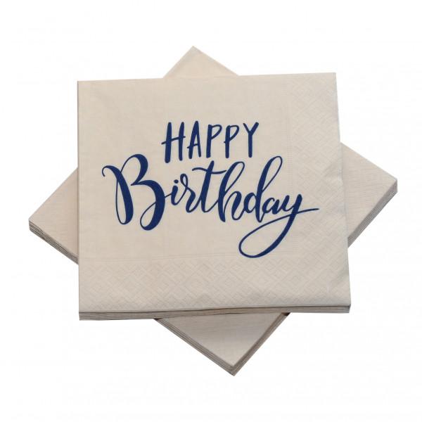 Servietten 'Happy Birthday' sand & dunkelblau (20 Stück)