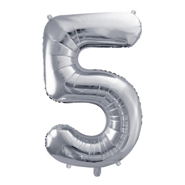Folienballon '5' 86 cm - silber