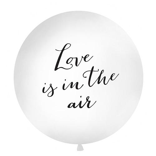 Jumbo Ballon 'Love is in the air' 100 cm - weiß & schwarz