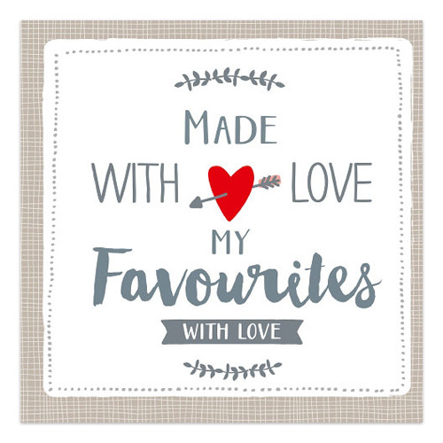 Servietten Made with Love - My Favourites (20 Stück) - taupe