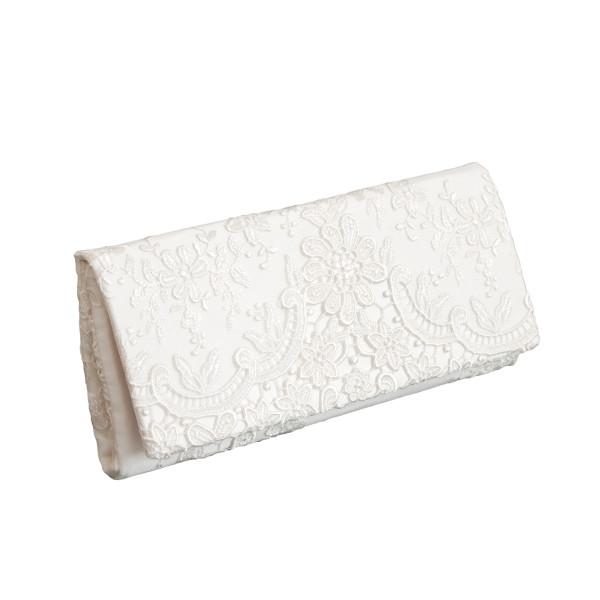 Brautclutch / Tasche mit floraler Spitze - creme