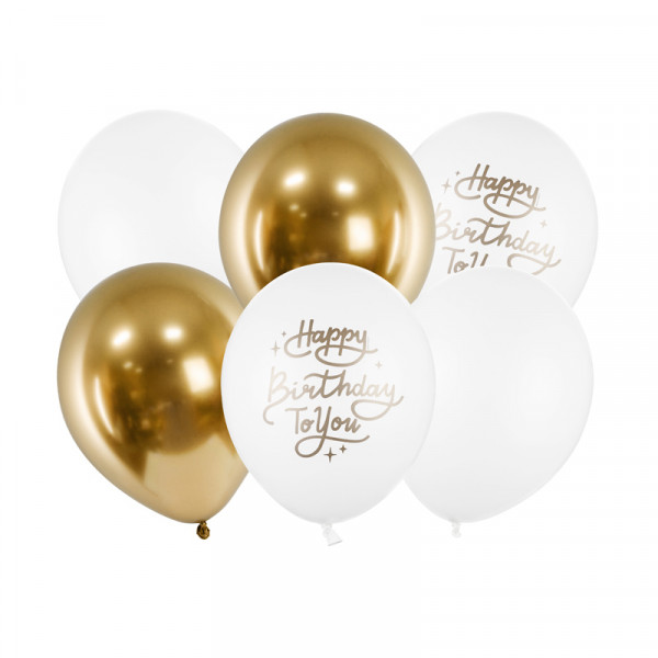 Luftballons 'Happy Birthday to you' (6 Stück) 30 cm - weiß & gold