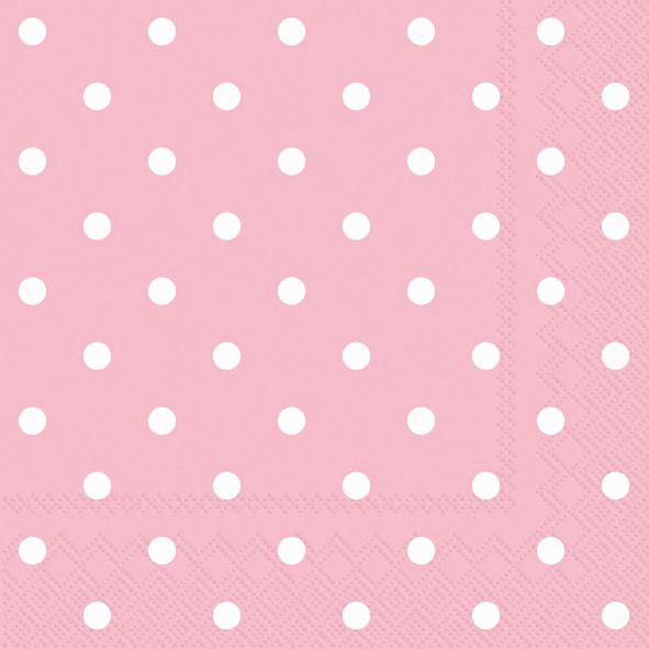 Servietten Punkte (20 Stück) - rosa