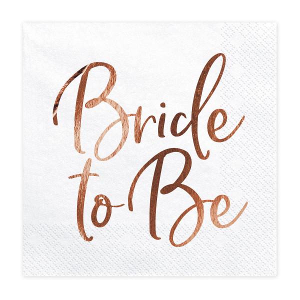 Servietten Bride to Be (20 Stück) weiß & roségold