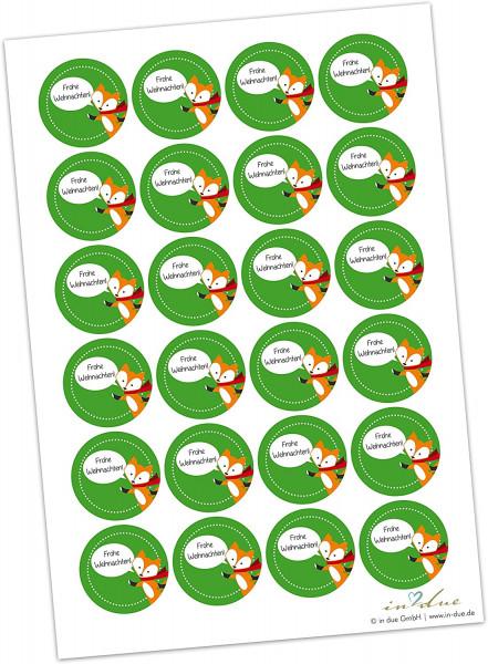 Geschenkaufkleber / Sticker 'Fuchs' - grün