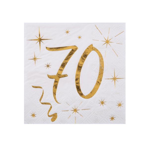 Cocktail Servietten 70. Geburtstag - weiß & gold