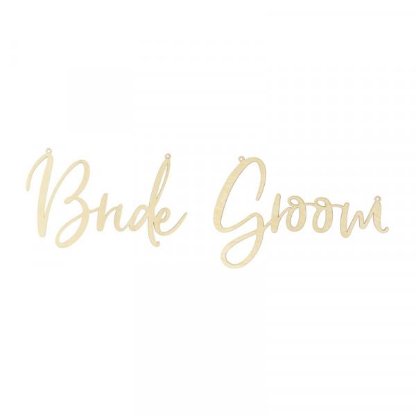 Stuhlschilder 'Bride & Groom' - Holz