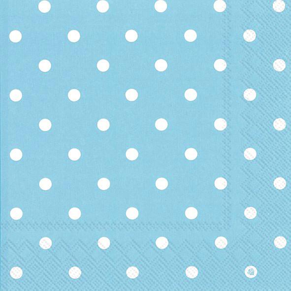 Servietten Punkte (20 Stück) - hellblau