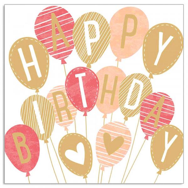 Servietten 'Happy Birthday Ballons' (20 Stück) - apricot